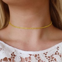 Sunshine Silk Yellow Beaded Choker Necklace