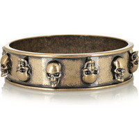 Alexander McQueen | Antique brass skull-embellished bangle | NET-A-PORTER.COM