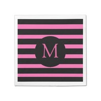 Modern Pink and Black Stripes Monogram Paper Napkin