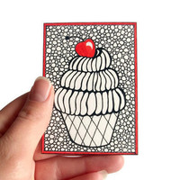 Original ACEO Cupcake Ink Drawing Zentangle Inspired by JoArtyJo