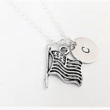 American flag necklace personalized initial USA flag charm friendship best friend no matter where personalized gift for her sister necklace