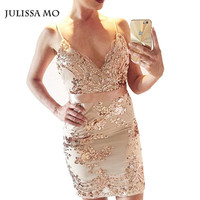 Julissa Mo 2016 Vestidos Women Summer Dresses Elegant Sexy V Neck Vintage Gold Sequined  Evening Bandage Bodycon Party Dress