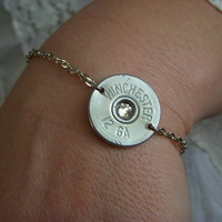 Bullet Jewelry. Shotgun shell jewelry. Silver bracelet.