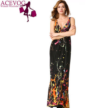 ACEVOG Brand Beach Bohemian Dress Hot Sale Ice Silk Summer Sleeveless Maxi Long Dress Women Ladies Vestidos Plus Size PLUS SIZE - Brides & Bridesmaids - Wedding, Bridal, Prom, Formal Gown