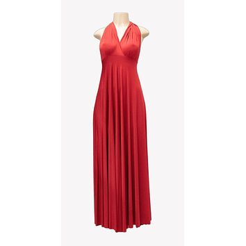 Long Red Convertible Jersey Dress 20 Different Looks