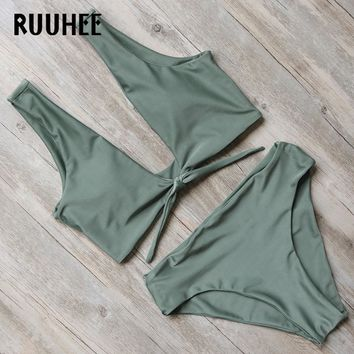 RUUHEE New Bikini Swimwear Women Swimsuit Bathing Suit Bikini Set 2017 High Cut Moderate Coverage Sexy Bottom Female Beachwear