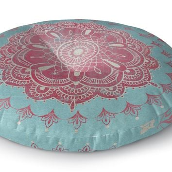 BOHO BLOOM TURQUOISE Floor Pillow By Terri Ellis