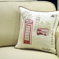 "London City Embroidered Pillow cover Decorative Cushion Cover Standard Pillow Cases 18""Sqaure"