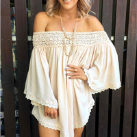 White Angel Sleeve with Lace Accent Off Shoulder Asymmetrical Dress