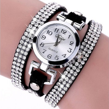 Women Fashion Charm Rhinestone Weave Wrap Multilayer Leather Bracelet Quartz Watch [8833426508]
