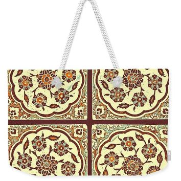 An Ottoman Iznik Style Floral Design Pottery Polychrome, By Adam Asar, No 14e - Weekender Tote Bag