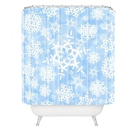 Lisa Argyropoulos Snow Flurries in Blue Shower Curtain