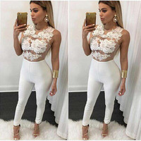 Summer Women's Fashion White Sleeveless Lace Patchwork Jumpsuit [6343454913]