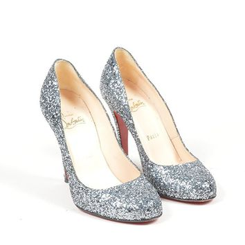 AUGUAU Silver Glitter Christian Louboutin Embellished  Ron Ron  Pumps
