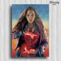 scarlet witch print avengers painting marvel super hero poster