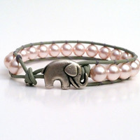 Elephant Leather Wrap Bracelet, Swarvoski Pearl Wrap Bracelet, Stackable, Good Luck Elephant button