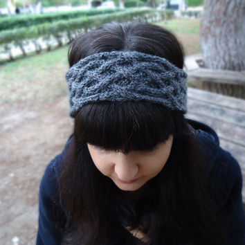 Cable knit headband,women's knit headband, knit wool ear warmer,womens knit head wrap,hand knitted wool headband,womens accessories,knitwear