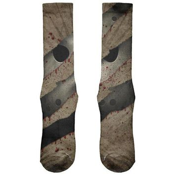 PEAPGQ9 Halloween Horror Movie Mask Slasher Attack All Over Soft Socks