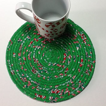 Green Christmas Coiled Rope Trivet,Fabric Hot Pad, Coiled Rope Mat, Quiltsy Handmade