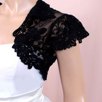 Black  handmade shrug  jacket  lace wedding bolero