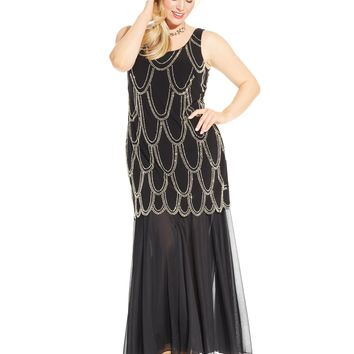 Betsy & Adam Plus Size Beaded Drop-Waist Dress