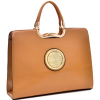 Dasein Faux Leather Rolled Handle Briefcase | Overstock.com Shopping - The Best Deals on Tote Bags