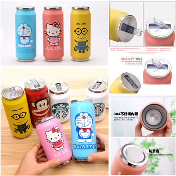 Promotion! Stainless Steel Anime Hello Kitty 1314 kt Coke Jingle Mugs Children Cans With Straw Insulation Coke Vacuum Flasks