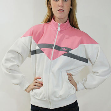 80s ADIDAS Track Jacket Windbreaker Lightweight Running Outerwear Pink White Vintage 1980s Ladies Womens Large L