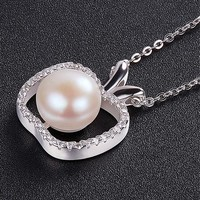 [15.29] 925 Sterling Silver Necklace, Micro Pave AAA Zircon Apple Pendant with Fresh Water Pearl, Platinum, 400mm - dressilyme.com