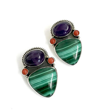 Reve Sterling Silver & Gemstone Earrings, Amethyst Coral Malachite Clusters, Artisan Handmade, Pierced Earrings, Vintage Gift for Her