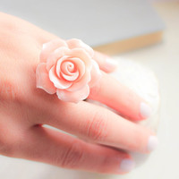 Pink Rose Ring Adjustable Ring Big Flower Ring Statement Jewelry Romantic Lace Filigree Floral Bridesmaids Gift Bridal Country Chic Wedding