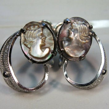 Sterling Silver MOP Cameo Earrings Signed Sorrento Abalone Shell Vintage Estate Jewelry