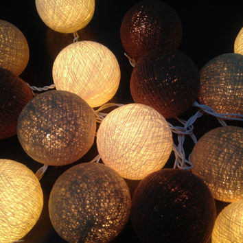 Cotton ball lights for home decor,party decor,wedding patio,20 pieces indoor string lights bedroom fairy lights,natural color tone