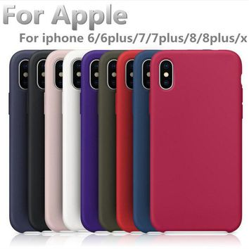 For Apple iphone 6 silicone case have logo Official style case for iphone 7 8  plus X Original phone back cover with retail  box