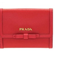 Prada Vitello Move Leather Geranio Red Coin Purse Bi-fold Bow Wallet 1MH523