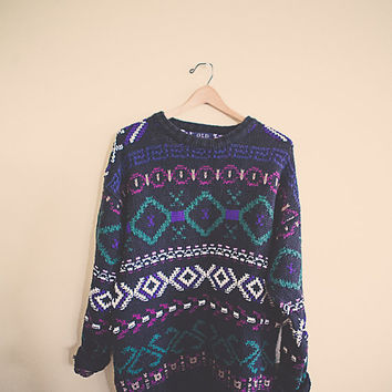 90's Hipster Black Blue Green  Jumper Sweater Tunic Large Pattern Cotton Oversized Cozy Comfy