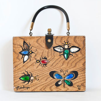 Vintage Enid Collins Glitter bugs Purse, Wooden Handbag, Glitterbugs Wood Box Bag with Handle and Mirror