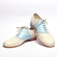 baby blue and beige 1950's vintage inspired saddle shoes - FREE WORLDWIDE SHIPPING