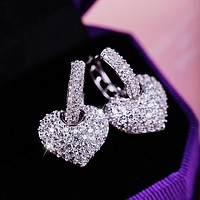 Cubic Zirconia Diamond Heart Stud Earrings
