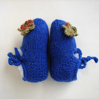MaryJane blue booties, slippers for babies with crochet butterflies, newborn to 1 year, choose size