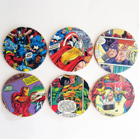 The Avengers Coasters version 1 // Superheroes // Repurposed Vintage Comic // Set of 6