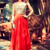 Red Mirror Work Anarkali Suit
