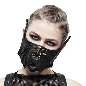 DCCKH6B Steampunk Black Leather Mask Women Men Mortorcycle Rivet Face Mask Wings Design Adjustable Winter Cycling Mask