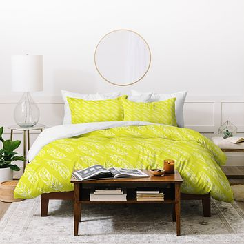 Allyson Johnson Neon Feathers Duvet Cover