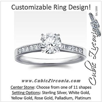 Cubic Zirconia Engagement Ring- The ________ Naming Rights 1553 (Customizable Cathedral Princess Channel Setting)
