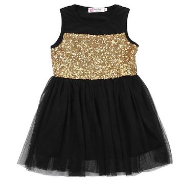 New Baby Kids Girls Toddler Dresses Princess Clothing Pageant Party Black Sequined Lace Mini Gold Formal Clothes Girl Dresses