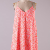 Aztec Racer Back Dress - Neon Coral