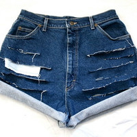 VTG LL Bean distressed and ripped high waisted shorts Large
