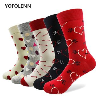 5 Pair Arrow&Heart Socks with High Quality Combed Cotton Fabric Long Tube Red Black Happy Funny Casual Colored Socks