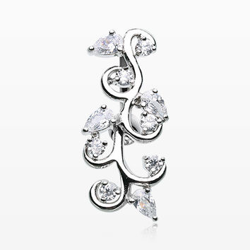 Delicate Crystal Vine Reverse Belly Button Ring